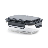 丽芙含餐具玻璃饭盒黑色550ml