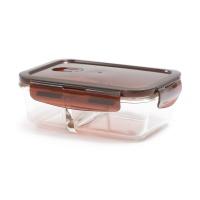 丽芙玻璃饭盒咖啡色(含隔层)700ml